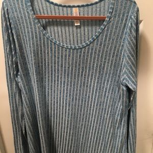 Lularoe Lynnae 2xl blue and white ribbed